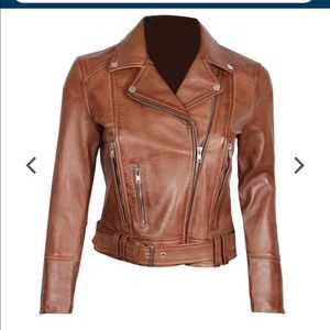 👻 Fanjacket real leather moto bike jacket brown